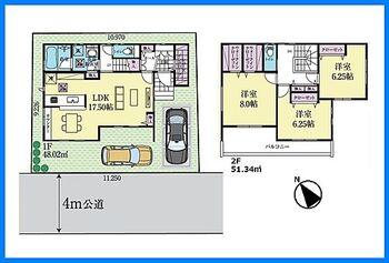 ソシアガーデン越谷市大沢4丁目II 新築一戸建 全居室6帖以上 全居室に収納がある3LDKが誕生します。SIC、床下収納、洗面室収納、2階ホール収納、収納力豊富な間取りです。