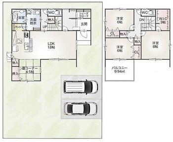 瑞穂市本田21 B棟 2階は全居室6帖以上の広い間取りです。