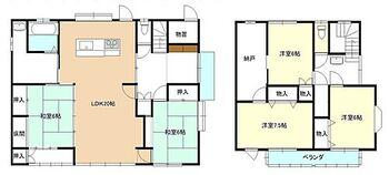 長井市舟場 戸建て 【間取り図】5LDKの間取りです。LDKは広々20帖で個室が5部屋と充実したお部屋数になりました。各居室には収納があるのでお部屋を広く使うことができます。