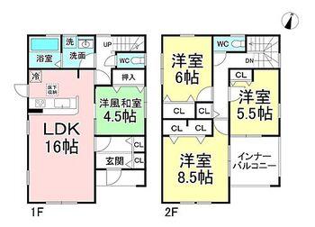 リーブルガーデン.S長野みこと川 1号棟 4LDK。建物延べ面積108.47m2(32.81坪)。対面キッチンのLDKにはガスファンヒーター付で冬は暖かです。