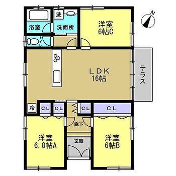 東田川郡庄内町余目字町 戸建て 【予定間取り図】リフォームで間取り変更を行い、対面キッチンの3LDKにする予定です。