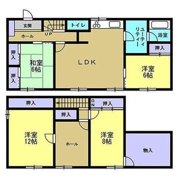 旭川市錦町22丁目 戸建て 【間取図】2階に2部屋ある4LDK住宅です。1階南側の和室と2階の和室は洋室に間取り変更を行います。