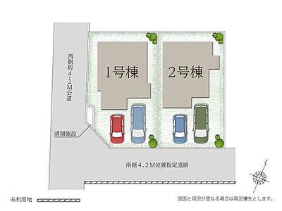 グランシア富士見 3LDK カースペース二台可 2号棟 区画図