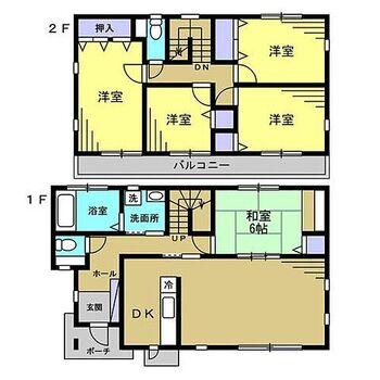 嘉穂郡桂川町大字土師 戸建て 【リフォーム中】間取りは5LDKの二階建てです。