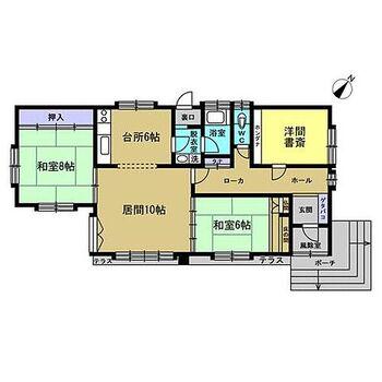 釧路市昭和中央1丁目 戸建て 【間取り】間取りは3LDKの平家建てです。和室を洋室仕様に変更し、和室1部屋洋室2部屋となります。各部屋が独立しているので、お子様の勉強部屋としてもお使いいただけます。