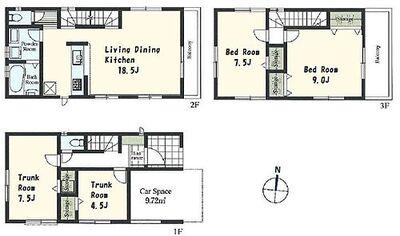 陽射しが渡る開放感 浦和区常盤 2号棟 ふれあいを大切にするリビングイン階段のある邸。車庫と収納を備えて自由度のある7.5帖と4.5帖の2部屋。効率のよい動線の対面キッチン採用の開放感あるLDK。ワイドバルコニー面した9帖の洋室。