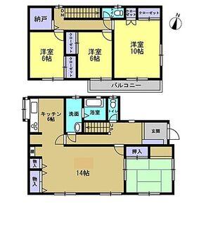 鳴門市大津町大代 戸建て 間取りは4SLDKの2階建てです。全室南向きで日当たり良好です。