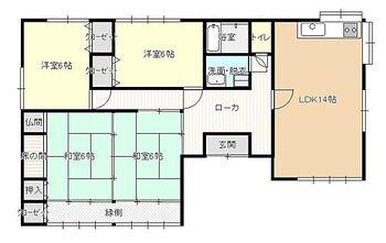枕崎市田布川町 戸建て リフォーム後の間取り図です。元々5DKの間取りを4LDKに変更致します。