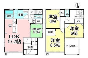 リーブルガーデン.S千曲八幡  1号棟 4LDK。建物面積114.27m2(34.56坪)。洋風和室のある間取り!LDKに隣接しているのでゆったりくつろげます。広々洗面室。急な雨も安心!インナーバルコニーです。