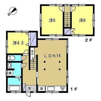 浜松市中区鴨江3丁目 戸建て 【リフォーム後/間取り図】リフォーム後の間取り図です。水回りを拡張、和室を洋室に変更、LDKの拡張等を行いました。