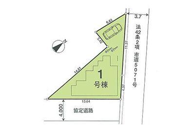 新築 川越市南田島11期「人気のリビング階段」 区画図:駐車スペース有り^^