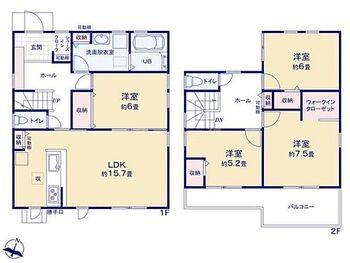 磐田市赤池 第3期  新築 全1棟 4LDK、全居室フローリング。