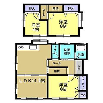宮崎市大字郡司分 戸建て 【リフォーム後間取り図】間取り図です。DKと和室を間取り変更を行いLDKにしました。2階も1部屋でしたが、2部屋に分け3LDKに変更しました。