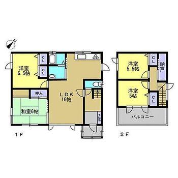 旭川市秋月一条1丁目 戸建て 【間取図】1階2部屋の4LDKです。2階は間仕切り壁を造作し、独立した2部屋に間取変更しました。各部屋に収納もありとても使いやすい間取です。