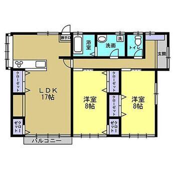 安曇野市明科東川手 戸建て 【間取り】間取り変更し3DKから2LDKになります。平家なので階段のない生活ができ、どなたにも優しい住宅です。各部屋に収納があるので部屋を広く使える間取りになります。