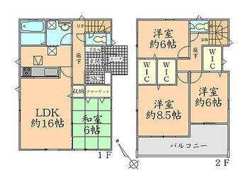 グラファーレ寒河江市船橋町 全4棟 4号棟 間取り図 家族の集まるLDKは広々約16帖です
