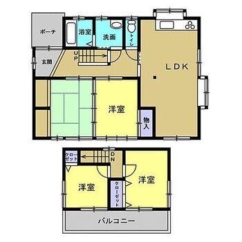 上伊那郡箕輪町大字中箕輪 戸建て 【間取図】リフォーム工事後の間取り図です。台所は和室と一体化させ、約15帖のリビングに拡張します。1階の和室のうち一つはフローリングを貼り、2階も洋室に変えるので、洋室3つの4LDKになります。