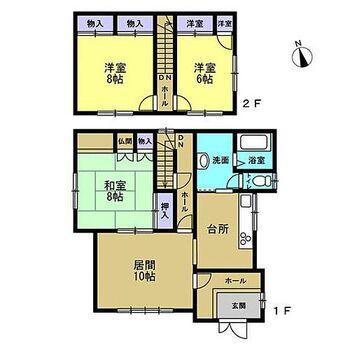 上川郡東神楽町南一条西3丁目 戸建て 【間取図】2階2部屋の3LDK住宅です。コンパクトな造りですが、各居室に既存収納スペースが備わっており使い勝手はばっちりです。