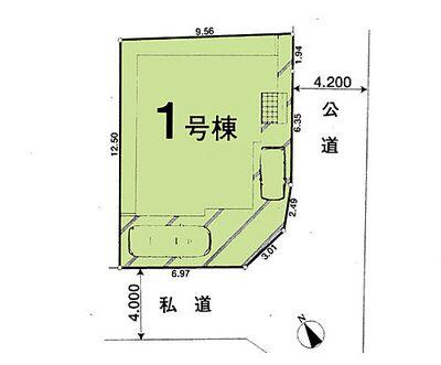 新築 川越市的場15期「2駅利用可・アクセス便利」 区画図:人気の角地^^