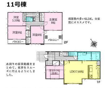 いろどりアイタウン 那須塩原市下永田7丁目 2期 11号棟 部屋数たっぷり5LDKタイプ!17.66帖の広々LDKは自然とご家族が集まる空間。水回りの家事動線をまとめて家事をスムーズに◎各所にたっぷりと収納があり、住空間はスッキリ広々です。
