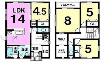 久留米市善導寺町飯田 新築戸建 B号棟 4SLDK玄関にはシューズインクローゼットウォークインクローゼット、マルチスペースのある洋室有り