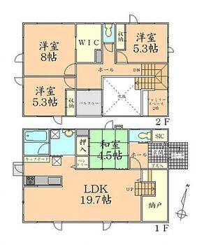 遠田郡美里町駅東2丁目 全2棟 A棟 間取り すっきり片付くWIC、パントリー付