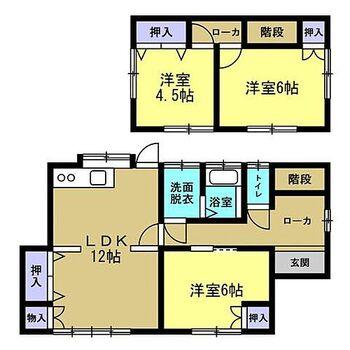 宮崎市月見ケ丘4丁目 戸建て 【リフォーム後間取り図】3LDKの間取りになり、和室は洋室に変更しました。すべての部屋に収納がついているのは助かりますね。