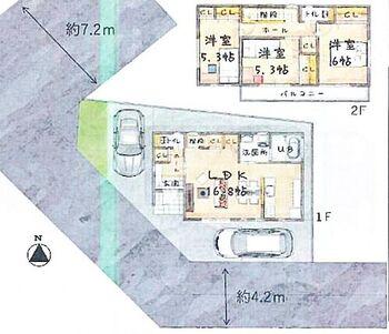 所沢市山口 全6棟 2号棟 3LDK ファミリー向けの間取です。