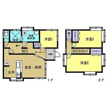 三次市畠敷町 戸建て 【リフォーム後間取図】間取りはリフォームにて3LDKに変更する予定です。3〜4人家族におすすめです。