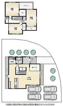 畑 中古戸建 【間取図】◆土地 約58.96坪! ◆駐車場4台可能です! ◆角地!