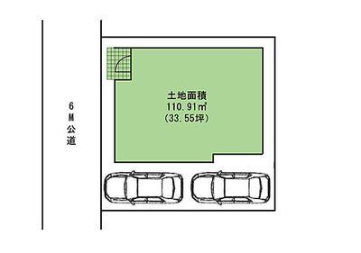 中古 ふじみ野市苗間 区画図1カースペース2台分ございます。