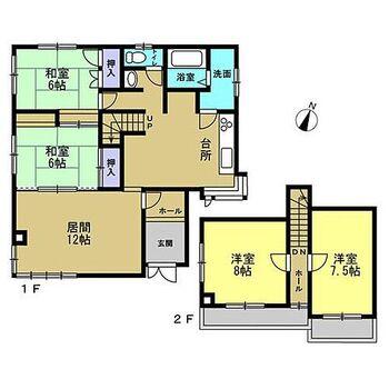 旭川市春光五条6丁目 戸建て 【間取図】1階に2部屋ある4LDK住宅です。2階和室8帖の部屋を洋室へ間取り変更を行いました。1階部分でも生活が出来る使い勝手の良い間取です。