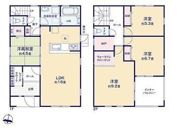 袋井市堀越 第2期  新築 全1棟 すっきりしたお家で過ごせる豊富な収納数!インナーバルコニーは、曇りの日でも外干しできます♪