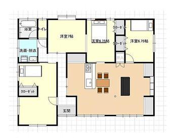 日南市星倉1丁目 戸建て 3LDKの平家です。北側洋室は仕切りをつければ7帖と6.5帖の部屋として使えます。家族構成に合わせて部屋数を変えることができます。