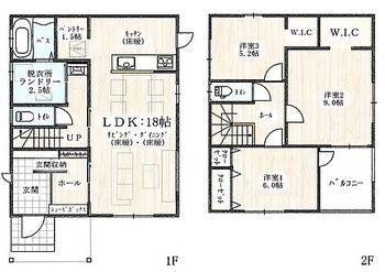 ハグミエ 借宿町 第1期 2号棟 シュークローク、パントリー付の収納たっぷりゆとりの3LDKです リビングスルー階段もGood