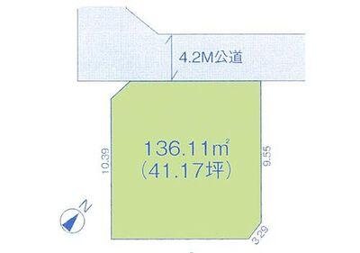 新築 川越市的場18期「敷地41坪のゆとり」 区画図:敷地広々41坪^^駐車スペース2台分有り。