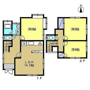 伊豆の国市天野 戸建て 【リフォーム後間取り図】1階南側の和室だったお部屋をLDKに、LDKだったお部屋を居室にリフォームしました。南側の明るいリビングが魅力です。2階の和室だったお部屋もフローリングを貼って仕上げたため各居