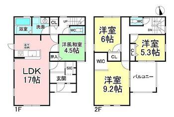 リーブルガーデン.S千曲八幡  2号棟 4LDK。建物面積114.27m2(34.56坪)。収納便利!シューズインクロークとウォークインクローゼット、1F階段前にはお掃除用具なども収納可能です。インナーバルコニーで雨の日も安心!