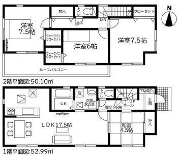 島田市元島田 第1期 新築 全2棟 2号棟 階段下や廊下などの空間を活かした収納豊富な間取です。玄関から洗面所まで一直線なので、お外で泥だらけになっても安心ですね。