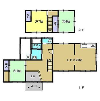 中新川郡立山町道源寺 戸建て 【間取り図】3LDKの戸建てです。LDKは拡張を行い、2階の洋室は和室から変更しました。