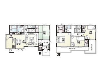 家事の軽減を考えた生活動線の間取りです。2階へのアクセスはリビングを通っての階段を設けました。