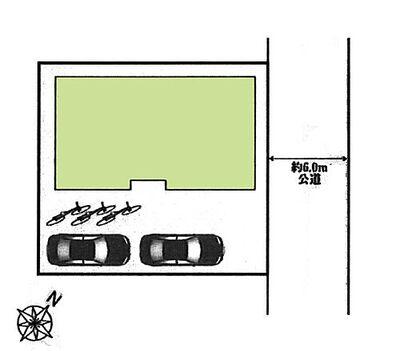 中古 狭山市中央2丁目「建物43坪・書斎あり^^」 区画図:敷地50坪^^2台駐車可能。
