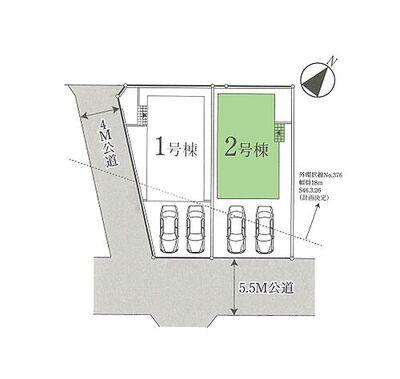 新築 川越市砂新田11期 2号棟 区画図1カースペース2台分ございます。