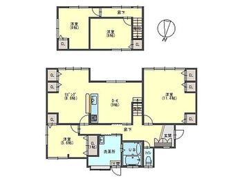 養父市八鹿町八鹿 戸建て 1Fの和室を洋室へと変更を行い、洋室が4つになりました。17.8帖のLDKと各部屋にクローゼットがついていますので収納力のあるおうちになりました。