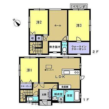 雲南市吉田町吉田 戸建て  【現況間取り図】3LDKのお家は、全部屋二面採光で明るく風通りが良いです。また、各居室クローゼットがあるのは嬉しいですね。