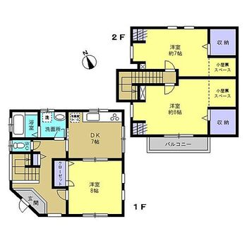 赤磐市坂辺 戸建て 【リフォーム済】間取りは全居室7帖以上の3DKです。間取りの変更は行っておりませんが各居室や廊下に収納がある使いやすい間取です。