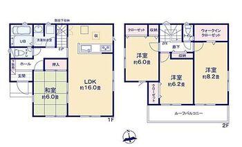 袋井市上山梨 第1期 新築 全4棟 1号棟 全室6帖以上!ゆとりのプラン。1階和室は、客間としてはもちろん、お子さんのお部屋としても便利♪