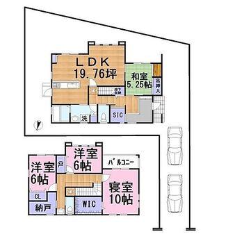 長浜市祇園町 新築戸建 南向きのLDKと和室は日当たり良好!ゆったりとくつろげるスペースです