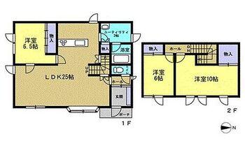 釧路郡釧路町柏西6丁目 戸建て 【リフォーム後間取図】LDK25帖の3LDK住宅です。リビング以外の各居室には収納が付いているので家財道具もすっきり片付いて便利ですよ。