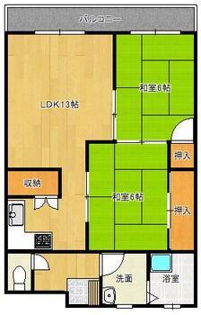 日生コーポラス 2LDK、価格290万円、専有面積54.12m<sup>2</sup> 現況を優先します。東側番バルコニーです。